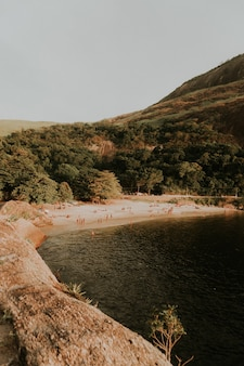 Tir vertical d'un lac dans une forêt