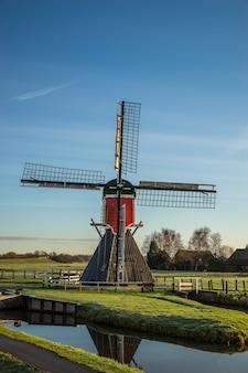 Tir vertical d'un moulin à poste sur un champ herbeux avec des clôtures en bois et un ciel bleu