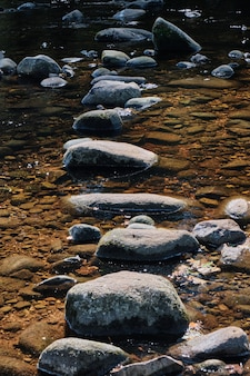 Tir vertical de la pierre au milieu d'un ruisseau d'eau