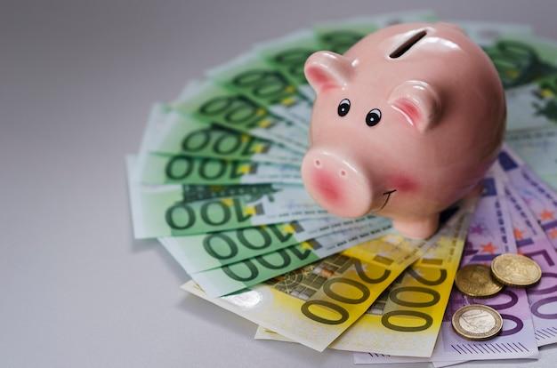Tirelire et billets en euros de différentes dénominations