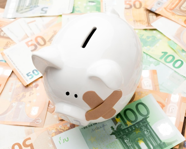 Tirelire cassée debout sur l'argent