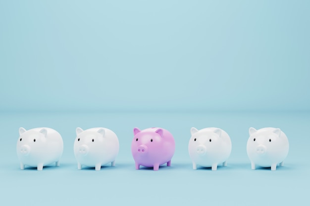 Tirelire de couleur rose exceptionnelle parmi la tirelire blanche sur fond bleu clair. concept d'économiser de l'argent et de l'investissement. illustration 3d