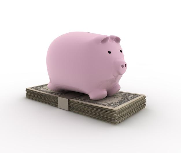 Tirelire sur les factures pour l'illustration de l'épargne