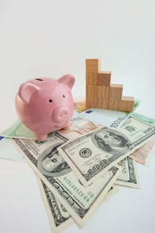 Tirelire en forme de cochon, cubes de bois graphique en croissance, billets en euros et dollars américains sur fond blanc isolé