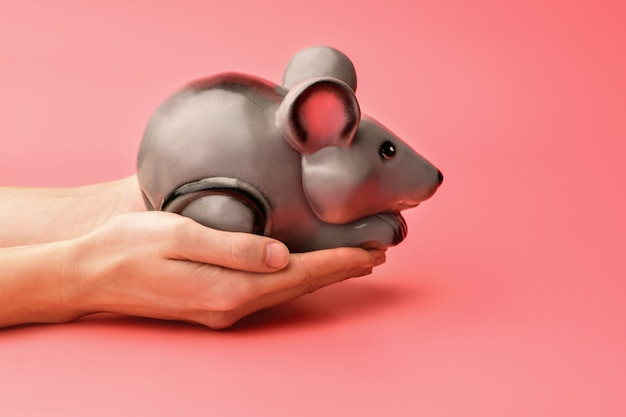 Tirelire en forme de rat gris ou de souris sur fond rose