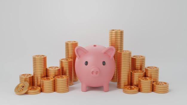 Tirelire rose et grande quantité de piles de pièces d'or isolées sur blanc. économiser de l'argent, 3d