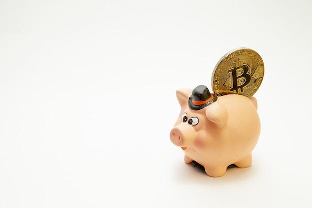 Tirelire rose avec une pièce d'argent bitcoin nouvelle monnaie virtuelle