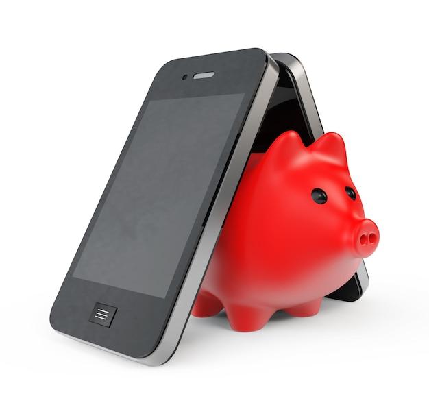 Tirelire avec téléphone portable sur fond blanc