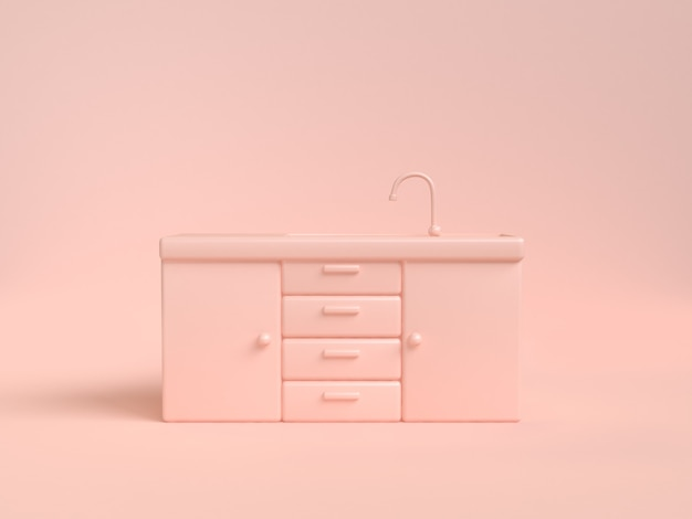 Tiroir armoire évier de cuisine abstrait doux rose-crème rendu 3d