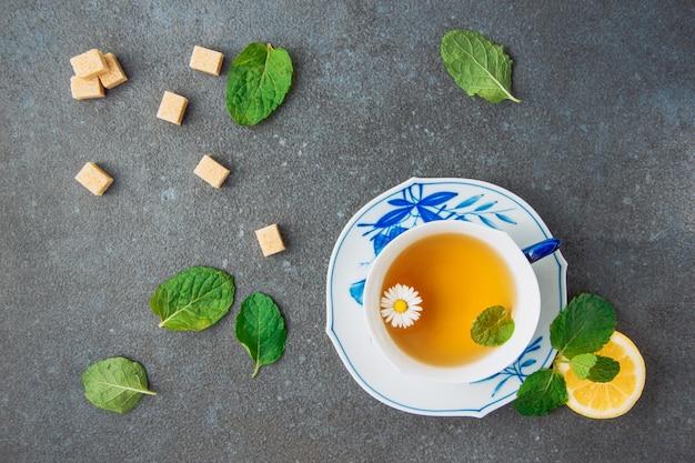 Tisane aux fleurs de camomille au citron, cubes de sucre brun épars et feuilles vertes dans une tasse et une soucoupe sur fond de stuc gris, à plat.