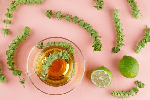 Tisane dans une tasse en verre avec des herbes, des limes à plat sur un rose