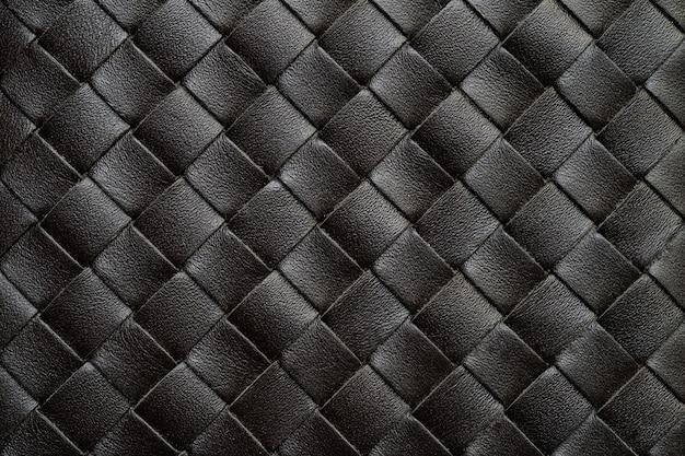 Tissage noir en cuir ou fond de texture de vannerie.