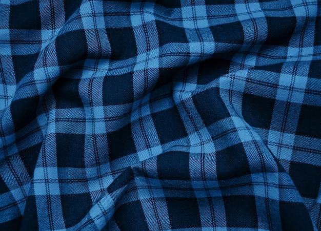 Tissu à carreaux texturé couleur bleu classique