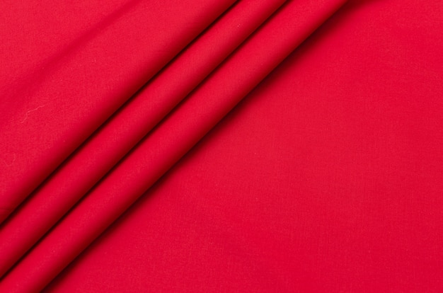 Tissu en coton satiné rouge