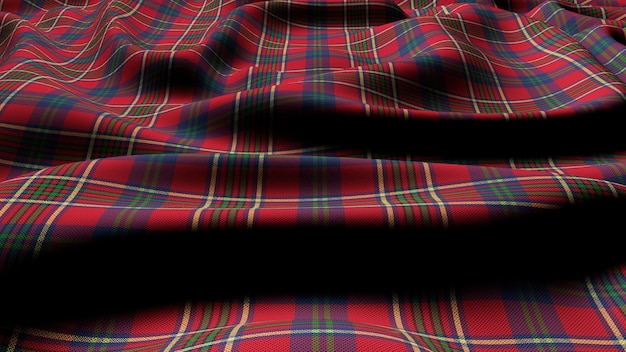 Tissu écossais à carreaux écossais à carreaux tartan classique à carreaux rouge vert rendu 3d.