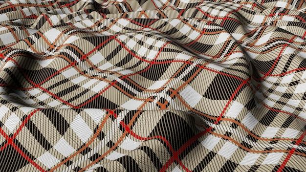Tissu écossais à carreaux écossais gris blanc avec damier rouge et blanc tissu sans couture à carreaux tartan classique rendu 3d.