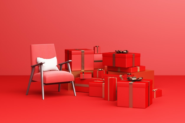 Tissu de fauteuil rouge avec coffret rouge sur fond rouge. rendu 3d
