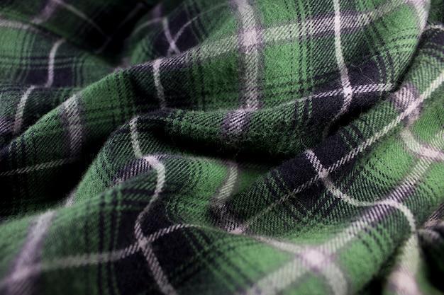 Tissu de flanelle à carreaux vert