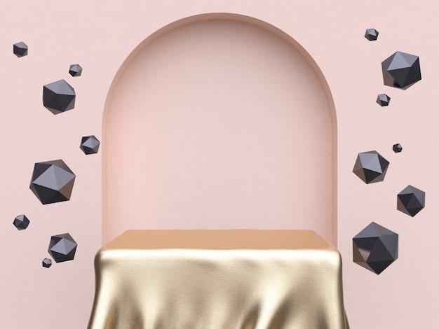 Tissu or forme carrée porte porte mur abstrait résumé scène 3d rendu