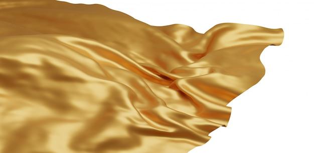 Tissu d'or volant isolé sur fond blanc