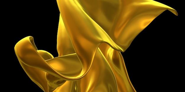 Tissu orné d'or feuille d'or froissé surface d'or abstrait 3d illustration