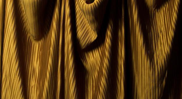Tissu plissé dans un drapé long avec ombre
