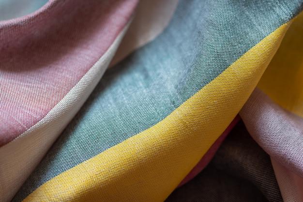 Tissu rayé multicolore, textile