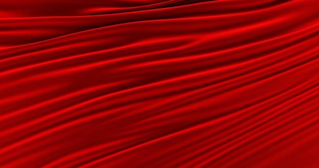 Tissu rouge, fond lisse de luxe, satin de soie vague, rendu 3d