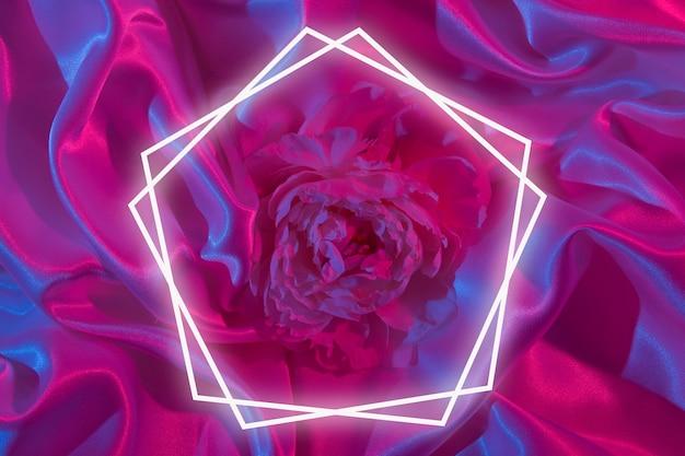Tissu satiné avec pivoine en néon avec cadre lumineux pour votre texte. fond coloré créatif
