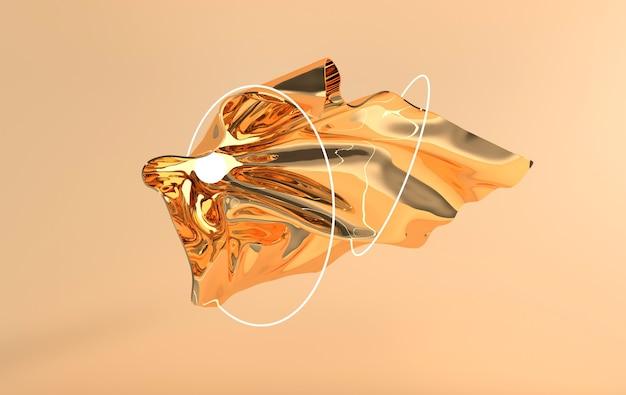 Tissu de soie satin doré de luxe en mouvement vagues dorées avec sphères lumineuses