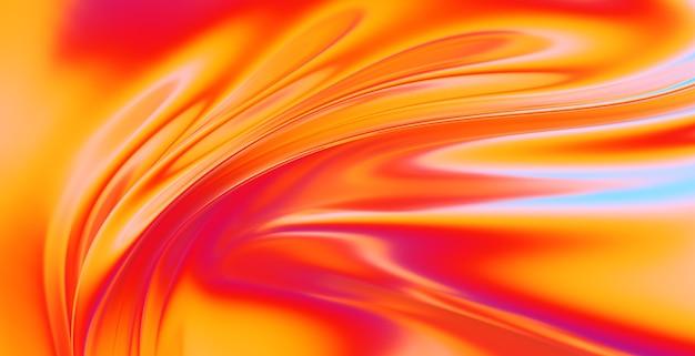 Tissu tissu vagues dégradé abstrait. surface ondulée chromée irisée. surface liquide, ondulations, reflets. illustration de rendu 3d.