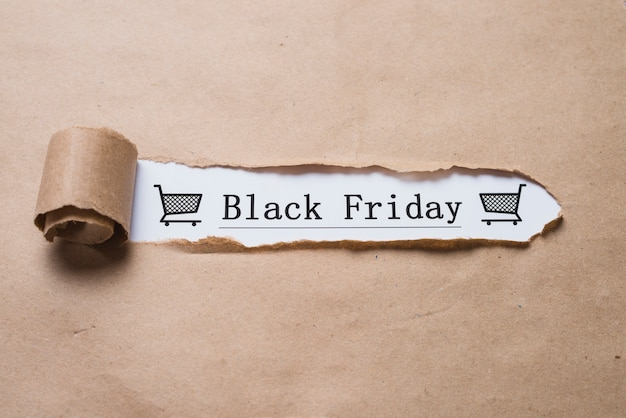 Titre et feuille d'artisanat du black friday