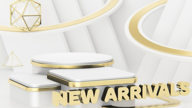 Titre new arrivals. vitrine pour l'affichage de trois produits. beau fond abstrait