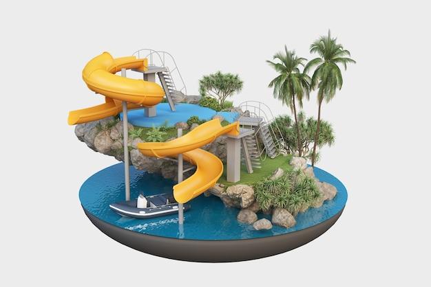 Toboggans et piscine sur une petite île, vacances d'été