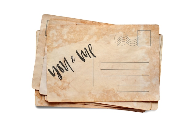 Toi et moi. lettrage sur une carte postale vintage. isolé sur blanc.