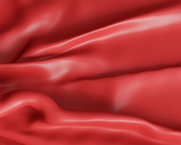 Toile de fond abstraite et papier peint avec textile ou tissu rouge rendu et illustration 3d.
