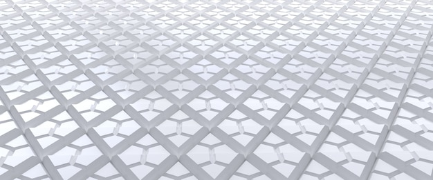 Toile de fond abstraite triangulaire carrelée blanche. surface de triangles extrudés. rendu 3d.
