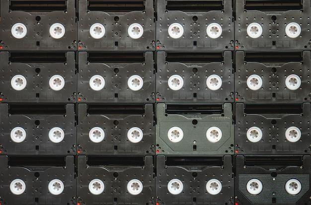 Toile de fond de cassettes vidéo magnétiques vhs analogiques