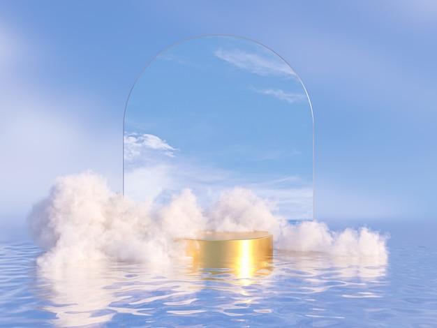 Toile de fond de podium de beauté naturelle pour l'affichage de produits avec un nuage de rêve et un cadre en arc