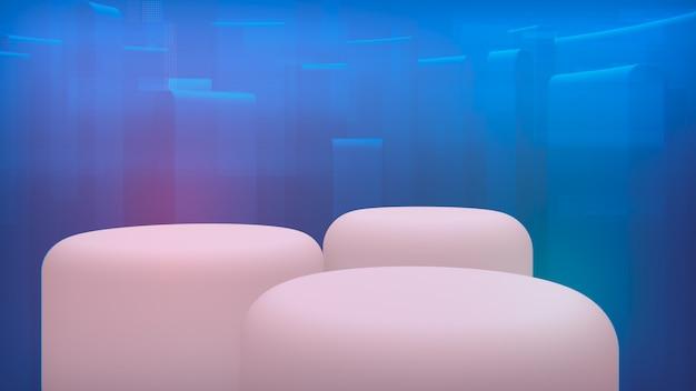 Toile de fond pour vos marchandises. vitrine blanche à trois niveaux. plan bleu rendu 3d