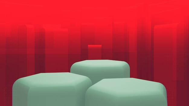Toile de fond pour vos marchandises. vitrine verte à trois niveaux. plan lointain rouge