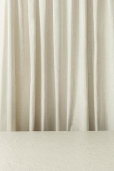 Toile de fond de produit de rideau blanc