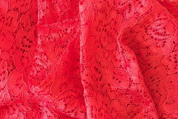 Toile de fond en tissu de dentelle rouge à fleurs
