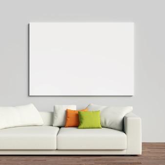Toile mockup sur le mur intérieur blanc avec canapé blanc