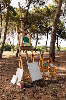 Toile avec peinture et pinceaux pour peintre