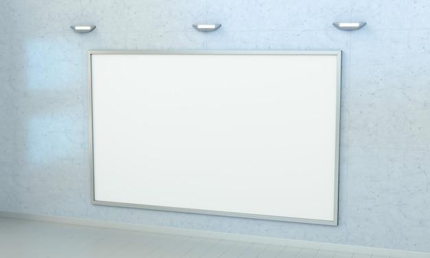 Toile vierge blanche sur un mur rendu 3d