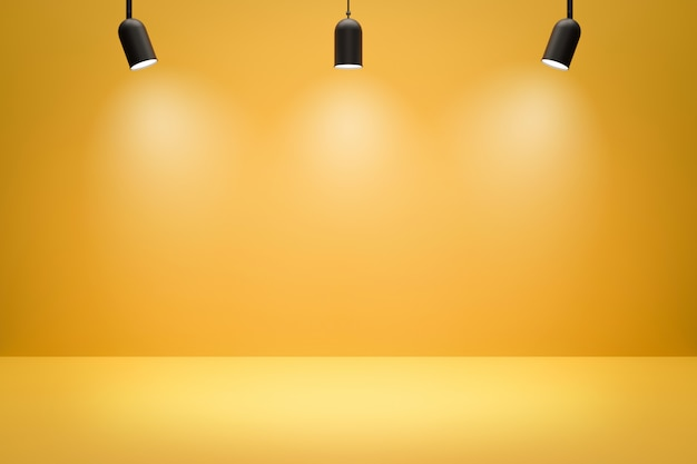 Toiles de fond de studio photo vide et projecteurs sur fond de salle jaune avec scène montrant. affichage jaune ou salle vide. rendu 3d.