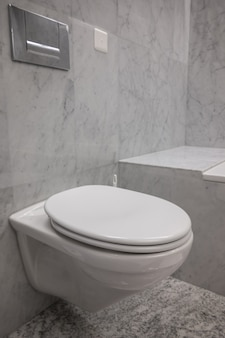 Toilettes blanches et propres avec les murs en pierre dans une salle de bain