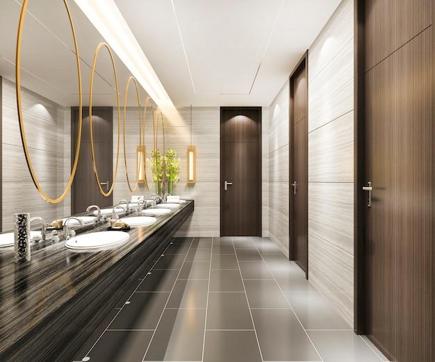 Toilettes publiques en bois rendu 3d et carrelage moderne