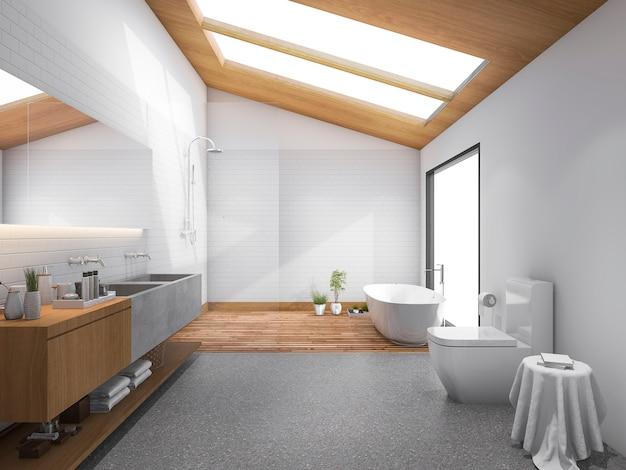 Toit en bois avec puits de lumière rendu 3d avec salle de bains et toilettes modernes